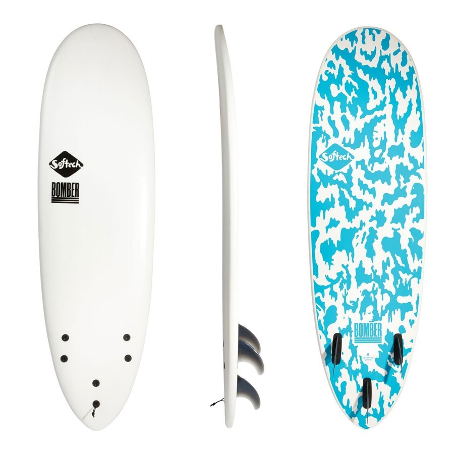 Softech 6'4  Bomber White Blue FCS II