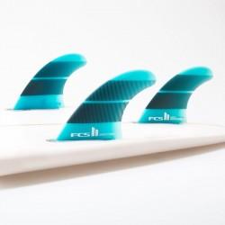 FCSII Performer Neo Glass Medium Tri-Quad fins teal gradient