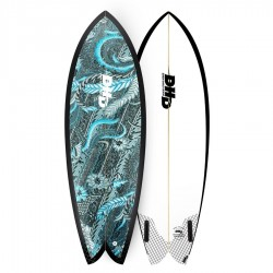 DHD Summer Series Mini Twin 5'7 Futures Fins blue scarlet