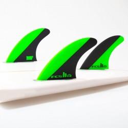 FCS II Mick Fanning PC Tri Fins set green black large