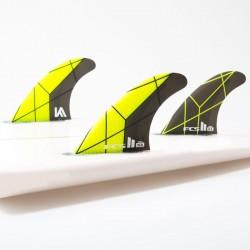 FCSII Kolohe Andino Performance Core Tri Fins set yellow grey small