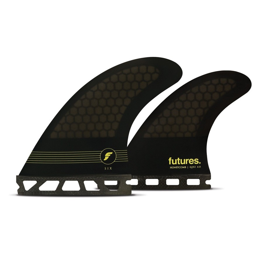 Futures Fins F6 quad fins set smoke black yellow