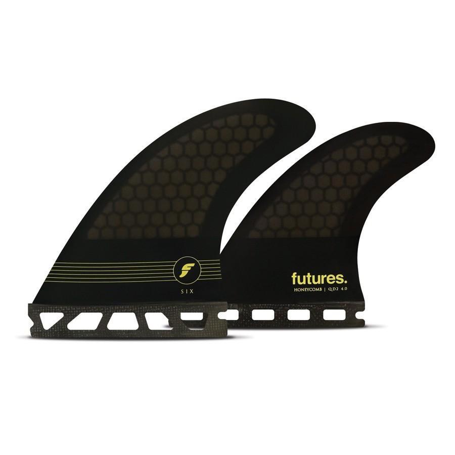 Futures Fins F6 quad fins set smoke black yellow