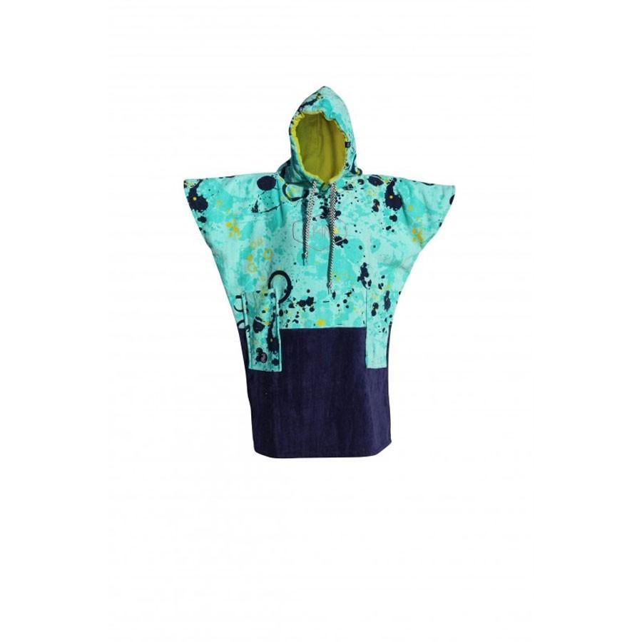 All In Poncho Junior Little Dragon blue paint print navy lemon