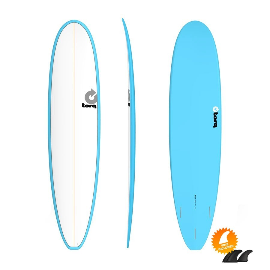Mini Malibu Torq Mini Long 8'0 Pinline Colour White Blue