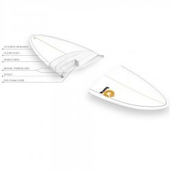 Planche de surf Torq Mod Fish 5'11 Pinline colour white sea green Construction
