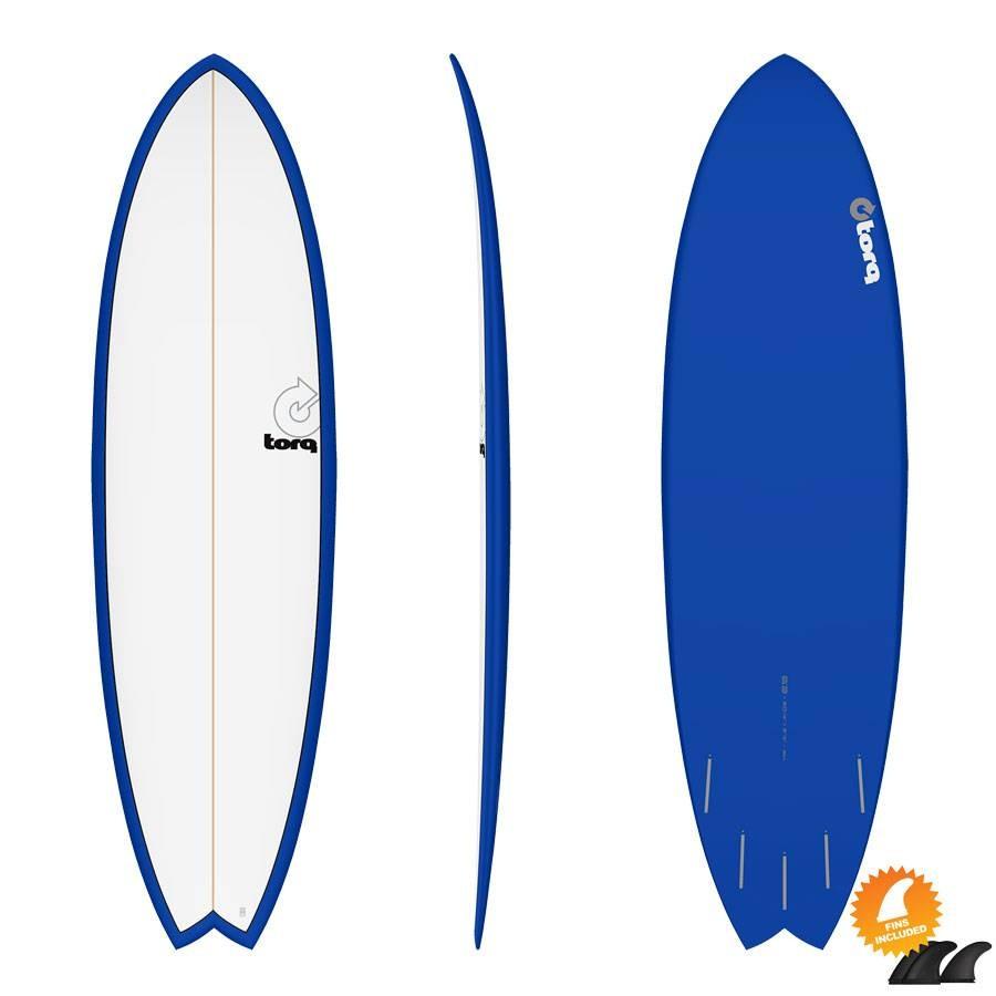 Torq Mod Fish 6'3 Pinline colour white navy blue