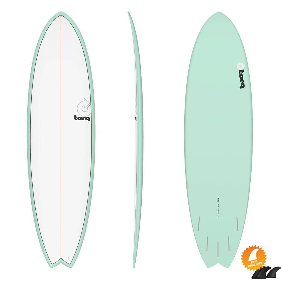 Torq Mod Fish 6'10 Pinline colour white sea green