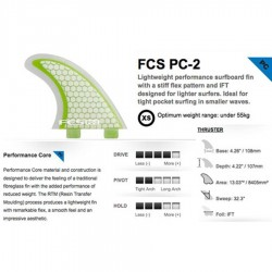 FCS PC2 Green Clear Tri Fin Set
