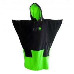 Poncho V All In Black Green Flash