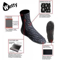 Wetty - chaussons néoprène 3mm - Skeletor