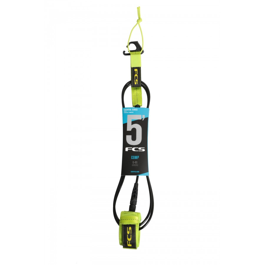 FCS 5' Comp Essential Leash fluro green