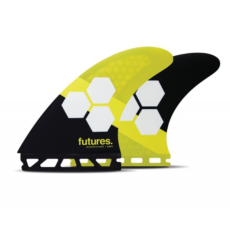 Futures Fins AM2 HoneycombTri fins set yellow black