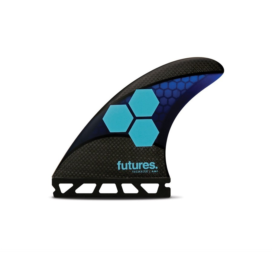 Futures Fins AM1 Techflex medium Tri fins set blue cyan