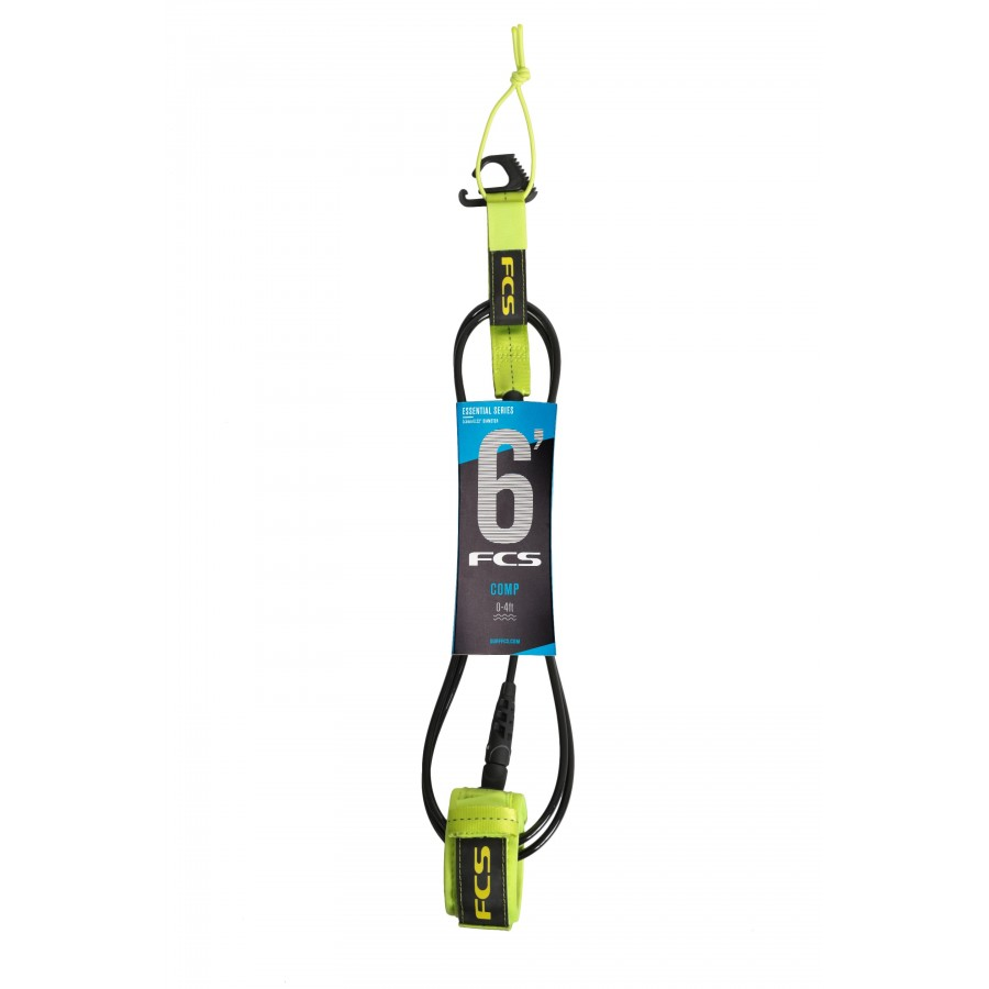 FCS 6' Comp Essential Leash Fluro Green
