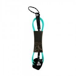 Channel Island leash 6'0 Dane Comp black turquoise